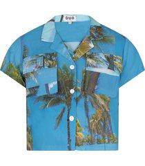 natasha zinko light blue boy shirt with colorful prints