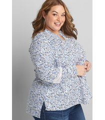 lane bryant women's button-front mesh-inset tunic 38/40 blue and white fountain floral