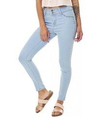 jeans skinny push up detalle mujer azul corona