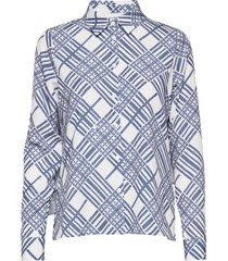 printed cape blouse overhemd met lange mouwen blauw maud