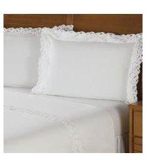 jogo de cama queen plumasul ellegance percal 230 fios 4 pçs branco