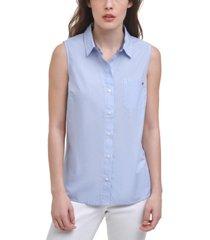 tommy hilfiger cotton cornell striped sleeveless shirt