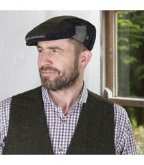 mens irish tweed patchwork cap navy medium