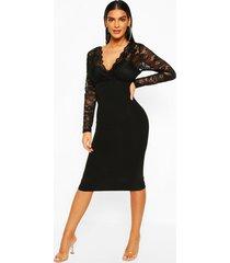midi jurk met kanten top en lange mouwen, black