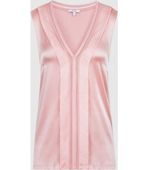 reiss chelsea - silk blend v-neck top in pink, womens, size xl