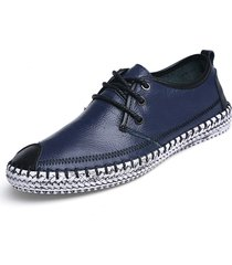 scarpe oxford stringate in pelle a contrasto