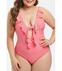 plus size ruffled plunge cutout one-piece swimsuit