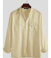 hombre algodón lino bolsillo delantero manga larga camisa