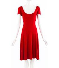 alaia red scoop neck flared midi dress red sz: l