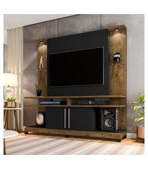 estante home para tv até 60 pol móveis bechara york led rústica/preta
