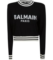 balmain stripe trimmed logo embroidered sweater