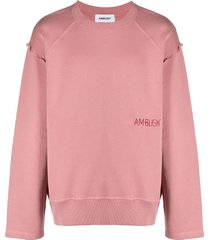 ambush embroidered-logo drop-shoulder sweatshirt - pink
