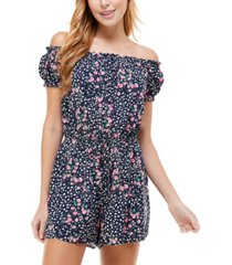 kingston grey printed on and off-the-shoulder romper