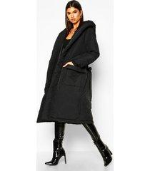 lange gewatteerde jas met capuchon en ceintuur, black