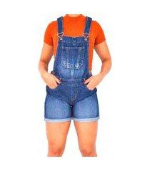macacão jardineira jeans curta feminina macaquinho com regulador azul escuro stone used