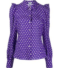kenzo abstract print structured shoulders blouse - purple