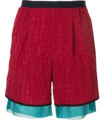 kolor croc-embossed shell shorts - red