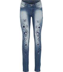 jeans skinny con ricamo (blu) - rainbow