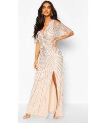 bruidsmeisje maxi-jurk met handversierde engelmouwen, blush