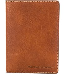 brunello cucinelli bi-fold logo wallet - brown