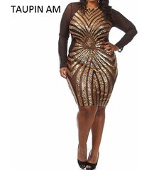 plus-size-gold-sequin-dress-black-long-sleeve-mesh-club-party-bodycon-dress-mini