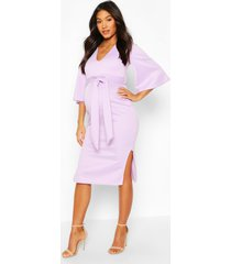 maternity angel wing v-neck midi dress, lilac