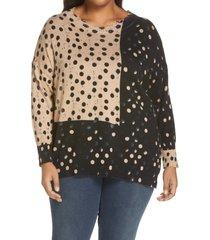 plus size women's nic+zoe mix & mingle crewneck sweater
