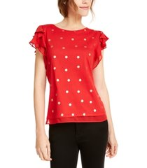 maison jules foil-dot flutter-sleeve top, created for macy's