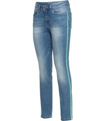 jeans skinny cropped con bande laterali (blu) - rainbow