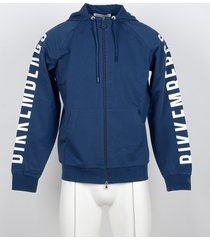 bikkembergs designer sweatshirts, blue cotton signature men's hoodie