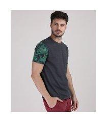 camiseta masculina folhagem na manga curta gola careca cinza mescla escuro