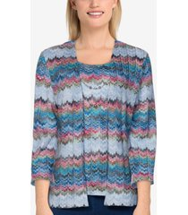 petite size bryce canyon casual textured two-for-one top with necklace