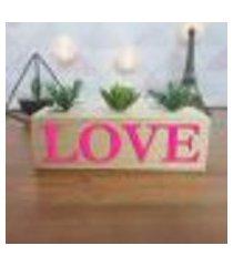 cubo decorativo com suculenta e letras em acrílico love único