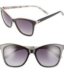 women's ted baker london 54mm cat eye sunglasses - black/ beige
