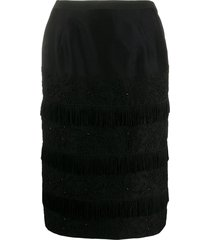 a.n.g.e.l.o. vintage cult 1960s panelled tweed fringe skirt - black