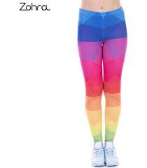 leggings printed women legging colorful triangles rainbow legins high waist