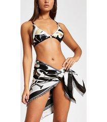 river island womens black monogram print beach sarong