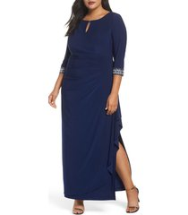 plus size women's alex evenings embellished faux wrap gown, size 20w - blue