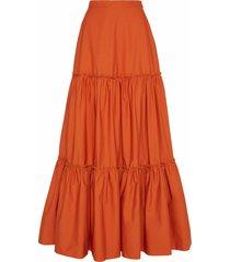 amotea charlotte long skirt in orange poplin