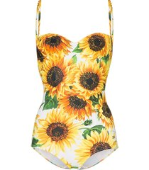 dolce & gabbana sunflower print one-piece swimsuit - yellow