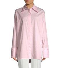 cut-out cotton button-down shirt