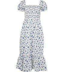 smocked square neck cherry print dress