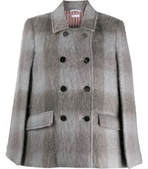 thom browne db high break cape in large buffalo check hairy mohair -