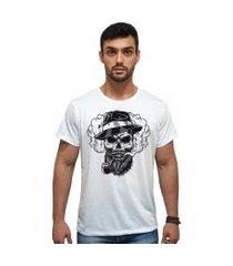 t-shirt 100% algodáo estampa caveira stefanello cm01 branca