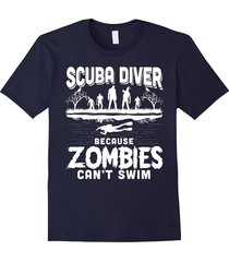scuba diver because zombies can't swim halloween t shirt men