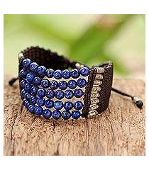 lapis lazuli beaded bracelet, 'the deep sea' (thailand)