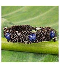 lapis lazuli braided bracelet, 'blue sugar' (thailand)