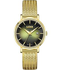 reloj para mujer marca loix ref. la1001-2 dorado/verde