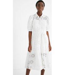 embroidered swiss midi-dress - white - l
