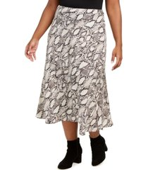 bar iii plus size snake-print midi skirt, created for macy's